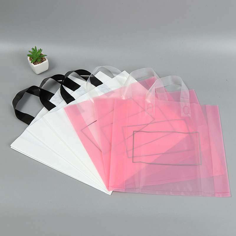 10pcs 29x28x6cm Pink / White Large Plastic Bags Clothing Boutique Gift Packaging Plastic Shopping Bag With Handle Custom LOGO