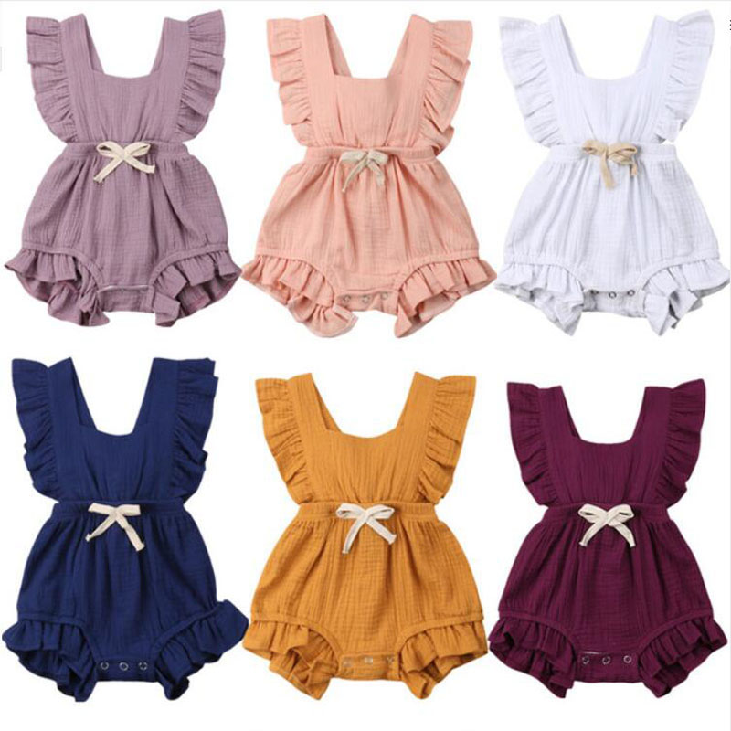 Newborn Baby Girls Ruffle Solid Color   Romper   Backcross Jumpsuit Outfits Sunsuit Baby Clothing