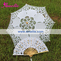 Free Shipping,Children's White Vintage Lace Parasol And Fan
