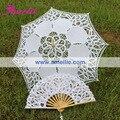 Frete grátis, Children ' s branco Vintage Lace Parasol e Fan
