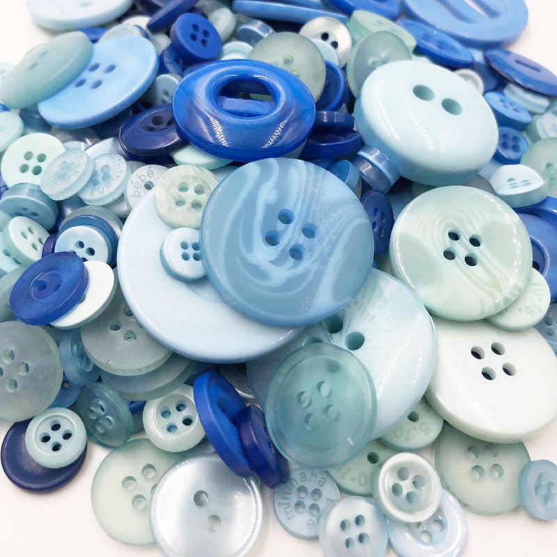 White with Blue 50 Gram DIY Making Hand Knitting doll's clothing Buttons Resin Promotions Mixed Sewing Scrapbook PH234