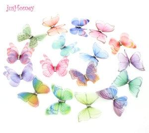 Image 3 - 100 adet degrade renk organze kumaş kelebek aplikler saydam şifon kelebek parti dekor, bebek süsleme