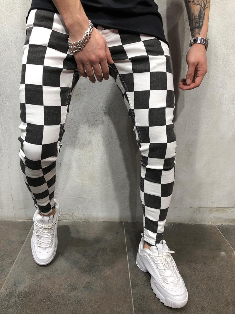 Hirigin Men  Summer Fashion Slim Comfortable Striped Grid Black White Casual Pants