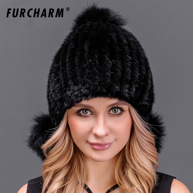 100% Real Mink Fur Hats for Women Knitted Mink Fur Beanies Cap with Two Fox Fur Pom Poms Cute Fur Hat Female Winter Headgear real mink pom poms wool rabbit fur knitted hat skullies winter cap for women girls hats feminino beanies brand hats bones
