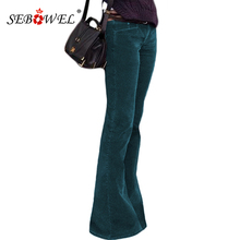 SEBOWEL Green High Waist Flared Bottom Leg Velvet Palazzo Pants Women 2019 New Bell Wide Leg Pants for Female Long Trousers S-XL girls frilled waist palazzo leg pants