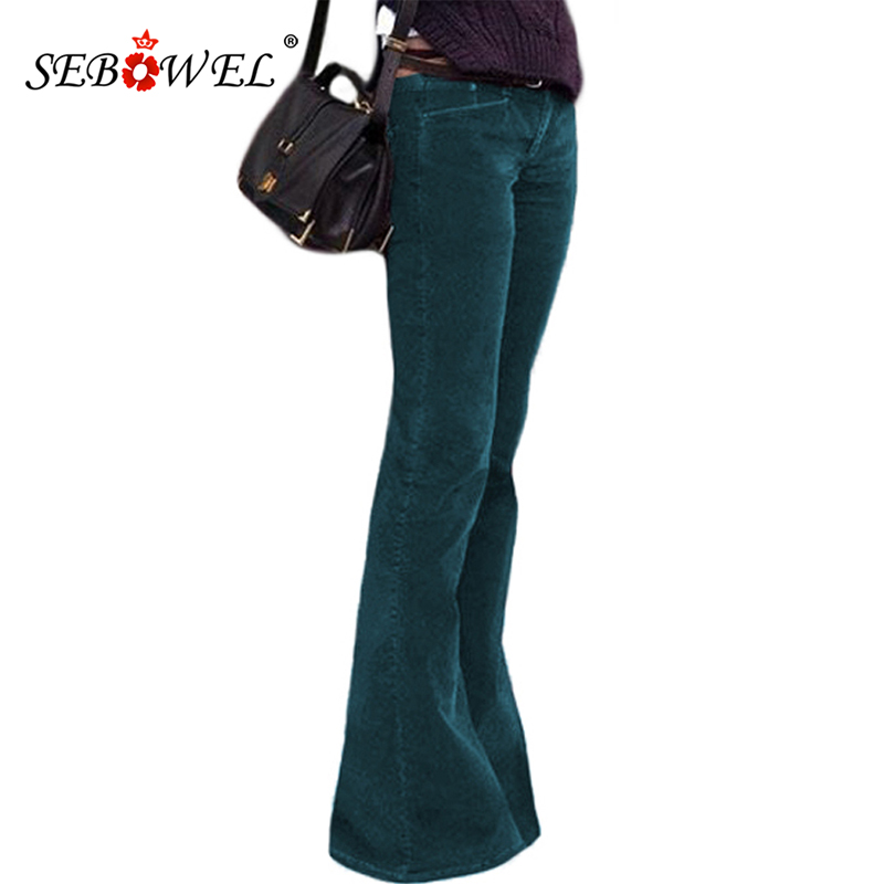 SEBOWEL Green High Waist Flared Bottom   Leg   Velvet Palazzo   Pants   Women 2019 New Bell   Wide     Leg     Pants   for Female Long Trousers S-XL