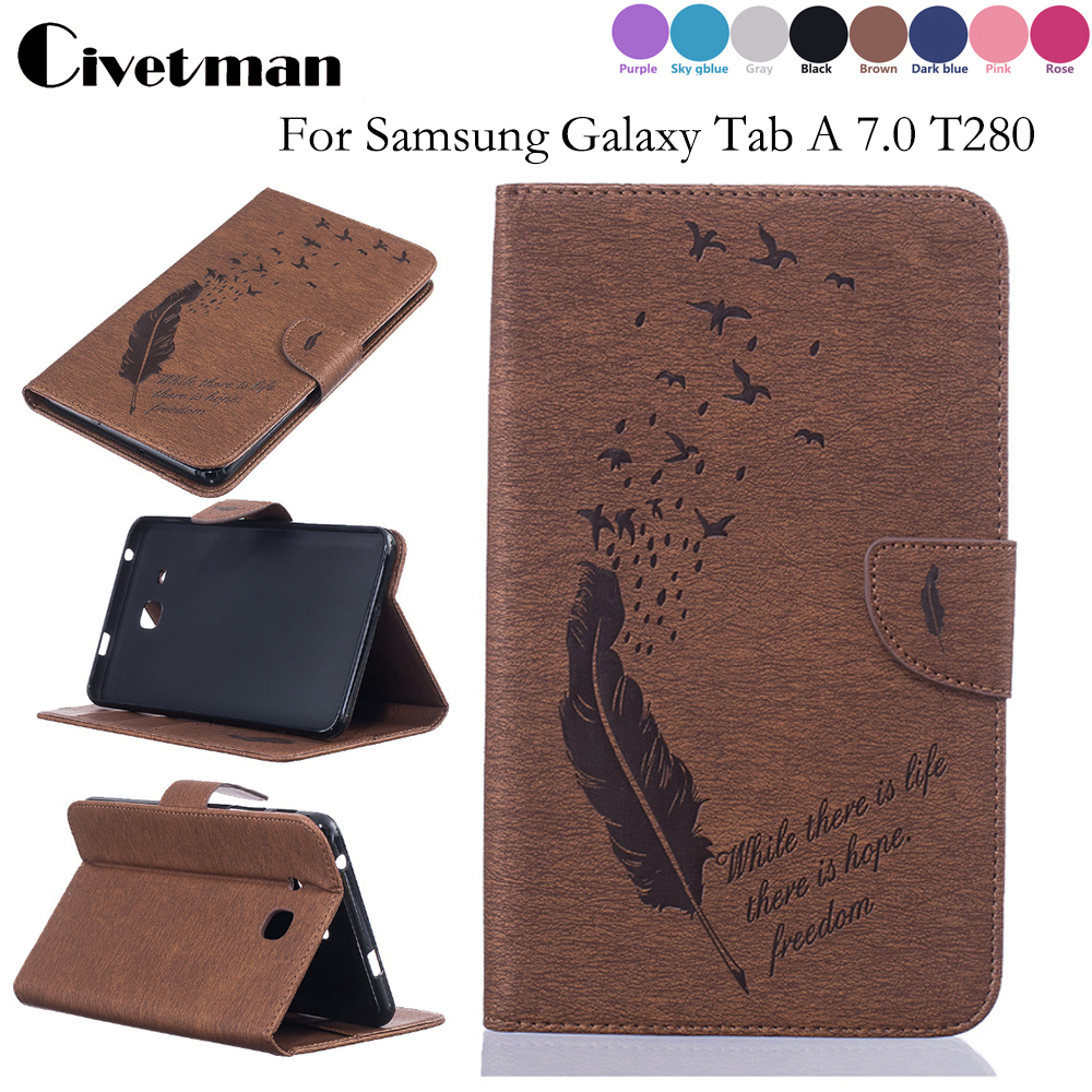 Feather Pattern PU Leather Tablet Case For Samsung Galaxy Tab A 7.0 T280 T285 Back Cover Shell Wallet Bag Card mooncase senior leather flip wallet card slot bracket back чехол для cover samsung galaxy a7 браун