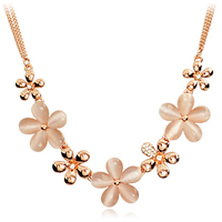Free shipping@@ Accessories fashion design short chain female flower eye crystal necklace