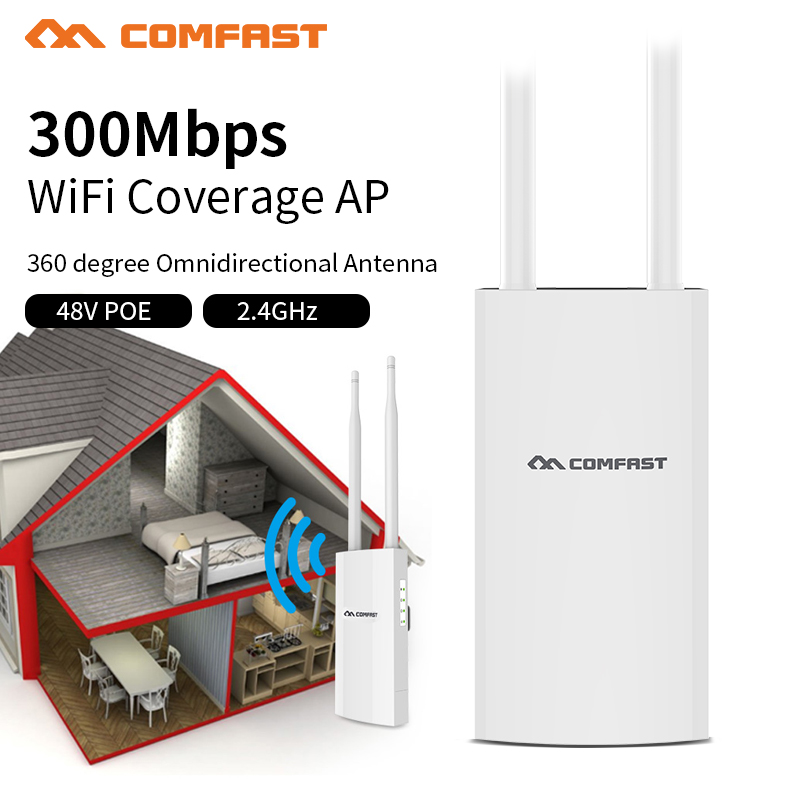 High Power 300Mbps PoE Outdoor Wifi Repeater 500mW Wireless Wi-fi Range Extender Amplifier 2.4Ghz Access Point Antenna Base AP