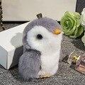 Bonito Mini Pompom Pele De Coelho Pom Pom Boneca Pinguim Chaveiro Bugiganga mulheres Saco Cadeia Chave Do Carro Chaveiro Chaveiro Jóias Presente de Ano Novo