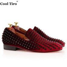 COOL TIRO  Men Women Wine red velvet Slip On Spike Luxury Handmade High quality Red Bottom Loafers Wedding Flat Dress Shoes