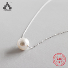 100% S925 Sterling Silver Fashion Elegant Shell Pearl Necklace Pendant for Women Jewelry equte elegant s925 sterling silver heart pendant anklet
