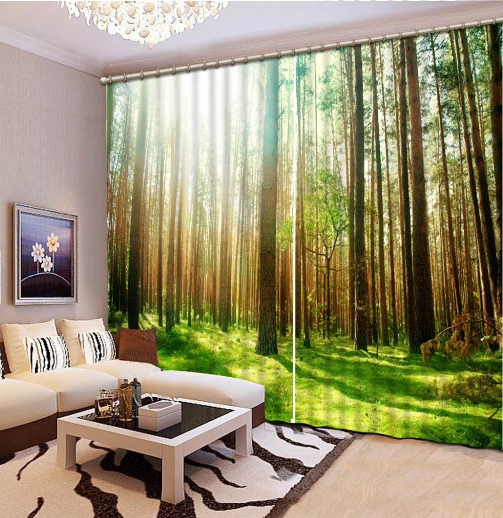 Modern Style Fashion 3d Curtains Forest Bedding Room 3d