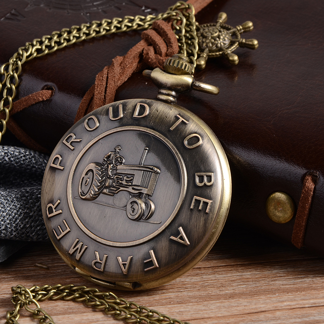 New Bronze Farmers Style Quartz Pocket Watch Necklace Pendant Clock Chain Men's