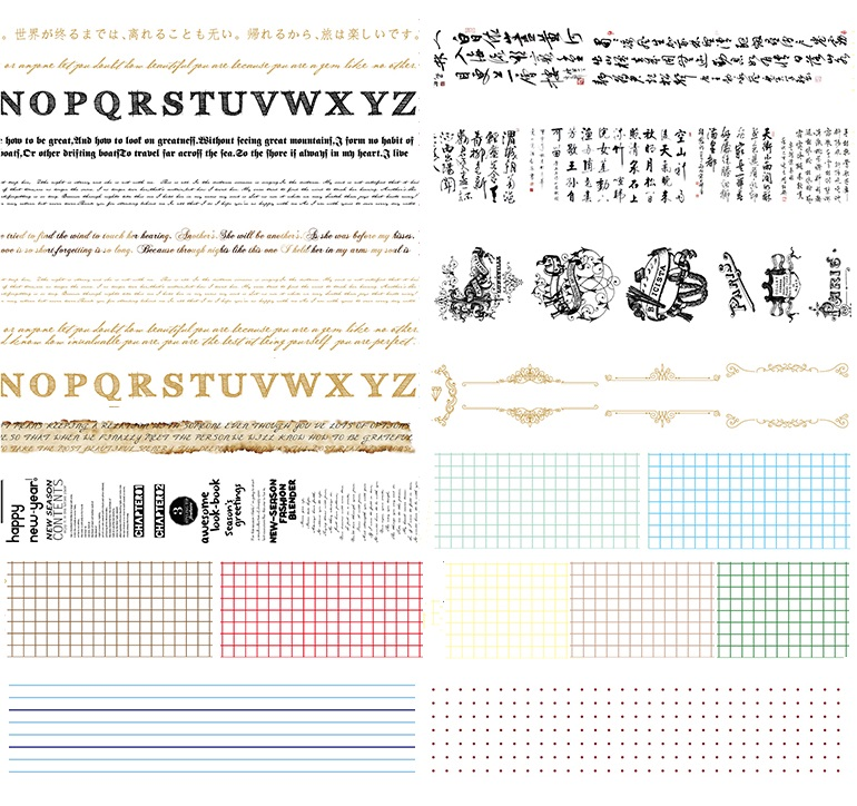 24Designs Letter/Chinese/Poetry/Calligra/Spot/Lattice Pattern Japanese Washi Decorative Adhesive DIY Masking Paper Tape Label