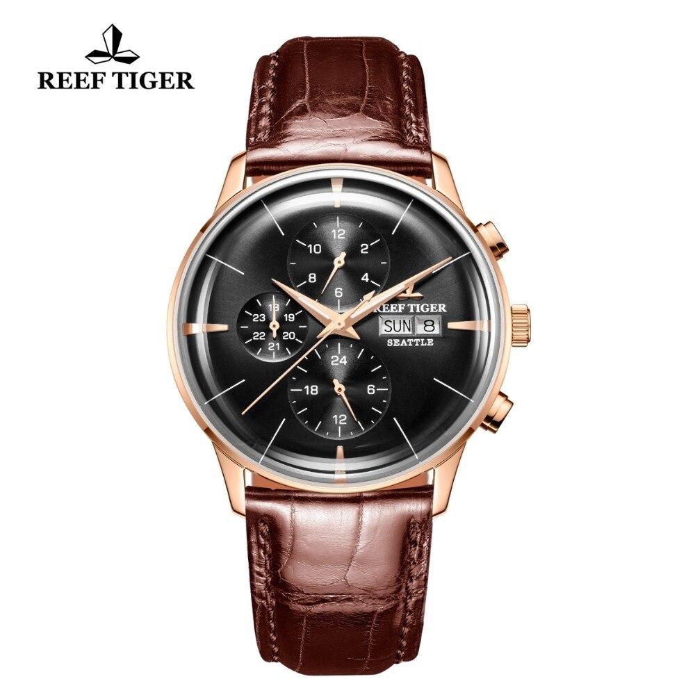 Риф Тигр/RT Элитная одежда часы для мужчин Multi Функция розовое золото коричневый кожаный ремешок автоматические Дата День RGA1699