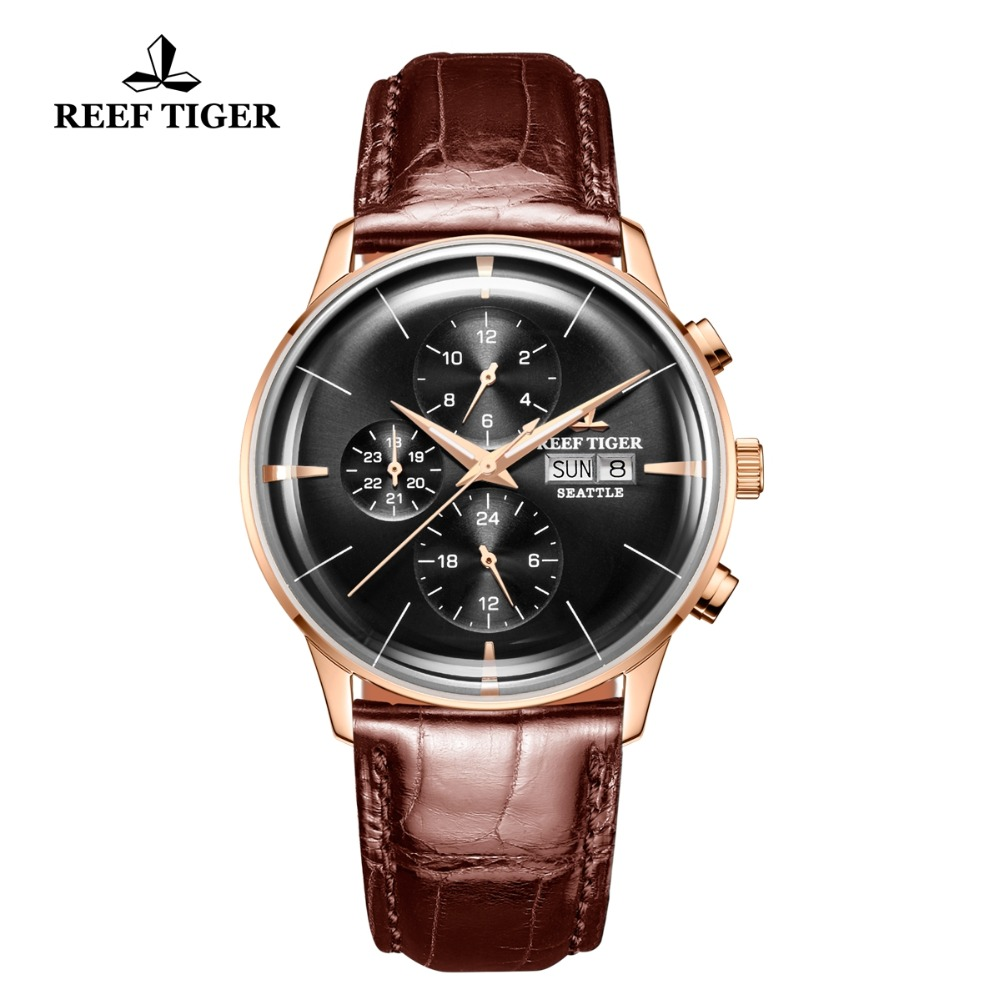 Reef Tiger/RT Luxury Dress Watch Men Multi Function Rose Gold Brown Leather Strap Automatic Watch Date Day RGA1699