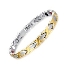 Vnox 100% Titanium Health Bracelet Bangle For Women Jewelry Inlay Magnet
