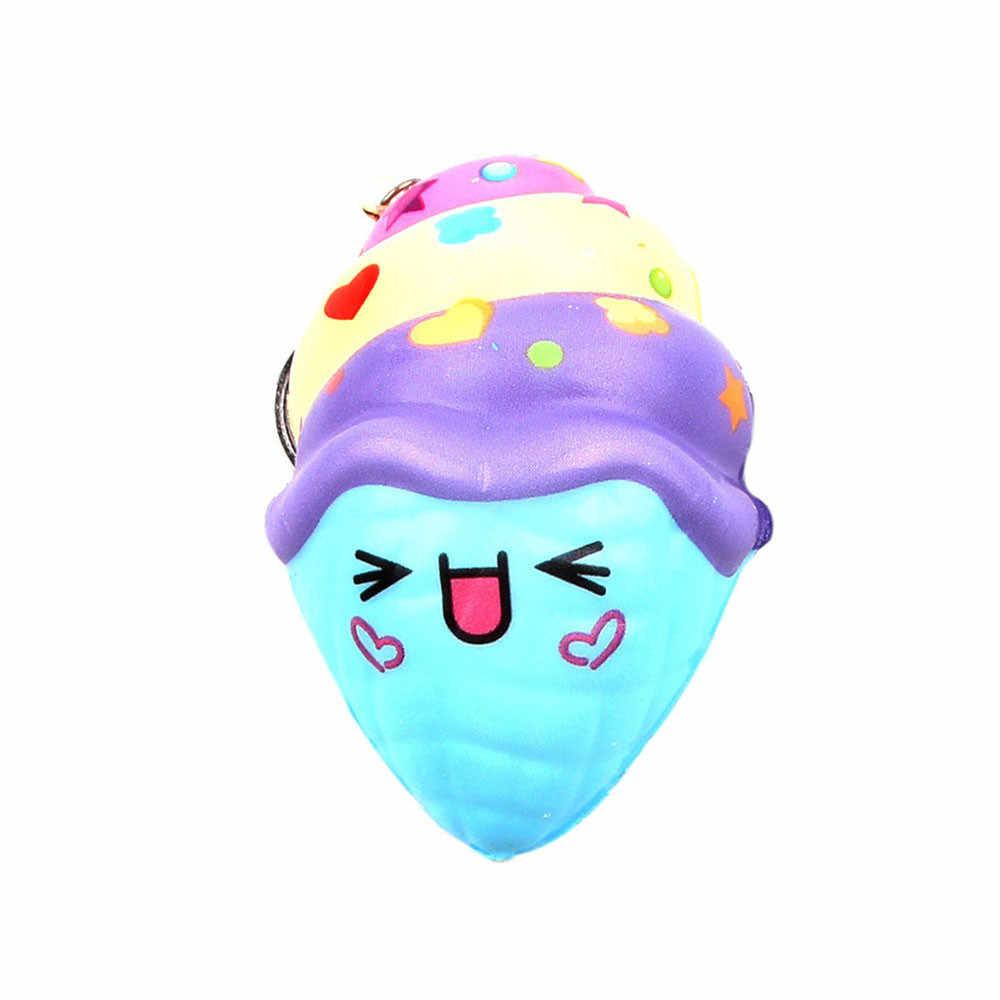 Лидер продаж! Продаж Симпатичные Мороженое стресс шнурок для брелка для ключей Ароматические супер замедлить рост Squeeze Toy Прямая доставка De26