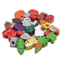 Colorful Baby Wooden Toy Cartoon Lacing Wooden Threading Beads Game Education Brand Top 2019 Best Selling