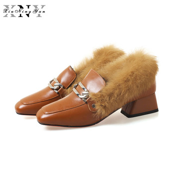 XIUNINGYAN 2019 Autumn Winter Women's Shoes Fashion New Handmade Genuine Leather Rabbit Hair Warm Pumps Wedding Shoes Woman Fur