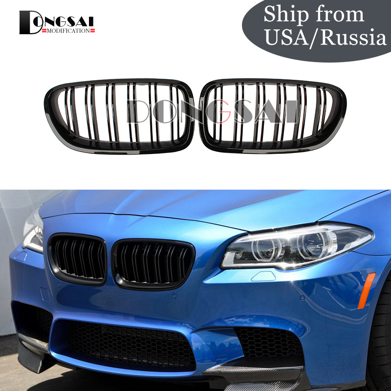 Hot Sale 2-Slat Gloss Black Racing Grille for BMW 5 series F10 F11 M5 Style Front Kidney Grill 550i 535i 528i 2010 + grille