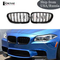 Hot Sale 2 Slat Gloss Black Racing Grille for BMW 5 series F10 F11 M5 Style Front Kidney Grill 550i 535i 528i 2010 +