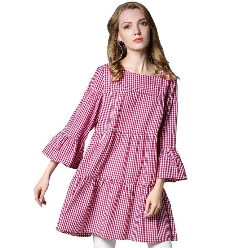 הסתיו החדש loose רשת כותנה טהורים קיפול שלושה שרוול רבעון אבוקה שרוול אימפריה בתוספת גודל של הנשים בגדי XL כדי 4XL