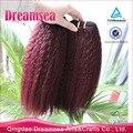 6A Rojo 99j Brasileño Remy Del Pelo Rizado Rizado Extensiones de Cabello de Color ombre Trama Del Pelo Humano Burdeos brasileña virginal del pelo