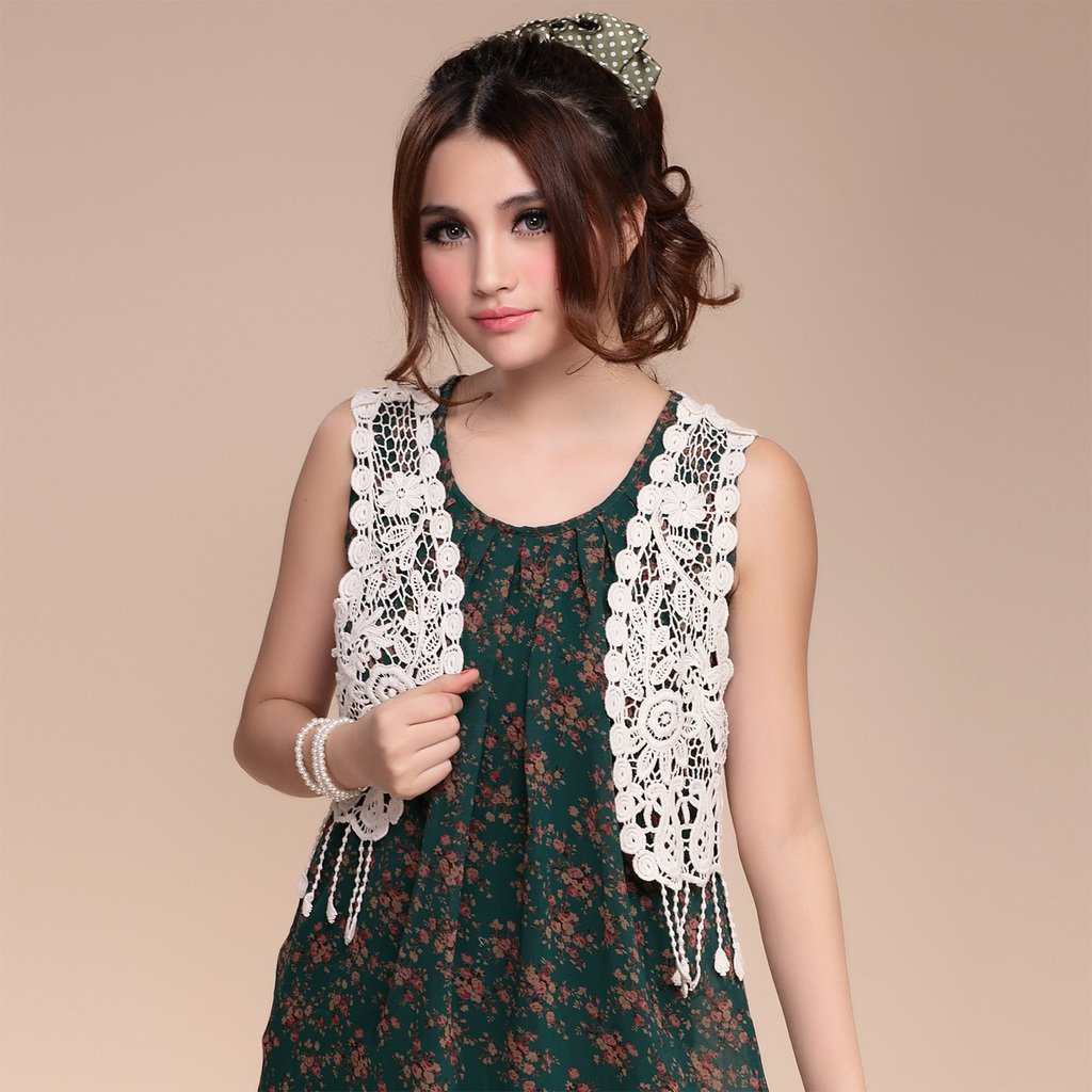 Free Shipping! 2014 Summer Tassel Sleeveless Lace Cutout Crochet ...