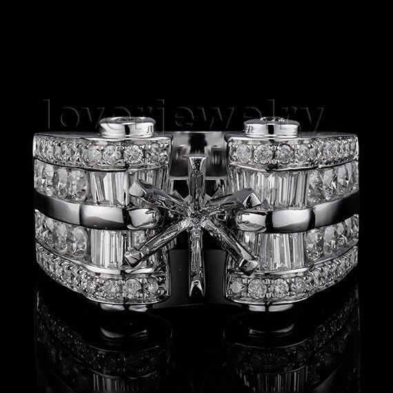 Big Fantastic  Amazing Diamond Engagement Semi mount Ring 18k White Gold Round 8mm SR128Big Fantastic  Amazing Diamond Engagement Semi mount Ring 18k White Gold Round 8mm SR128