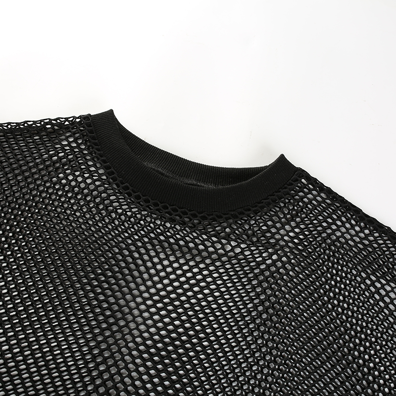 7Sweetown Harajuku Plus Size Tshirt Womens See Through Long Sleeve Fishne Tops Sexy T Shirt Black Striped Spliced Mesh Tee Shirts