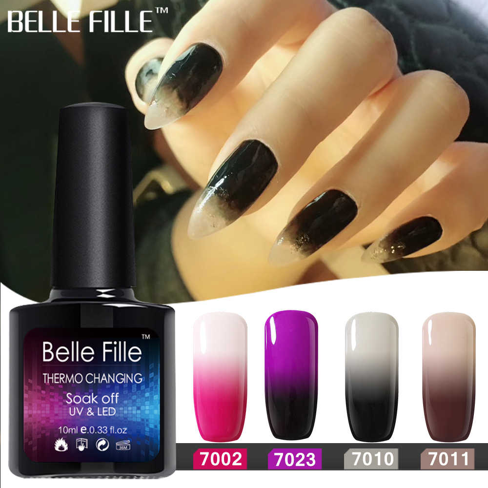 c9c8a32d4c BELLE FILLE Temperature Changing Color UV Gel Nail Polish 10ml Soak Off  Black Gel Polish Gel Lacquer Vernis Semi Permanent 7012