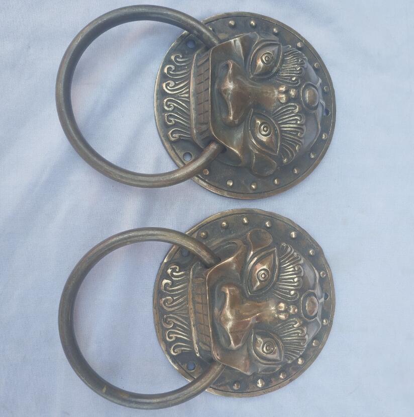 Accessoires de décoration de porte de maison, Collection 1 paire cloche de porte de robinet en Bronze ancien chinois, heurtoir en métal de style Antique