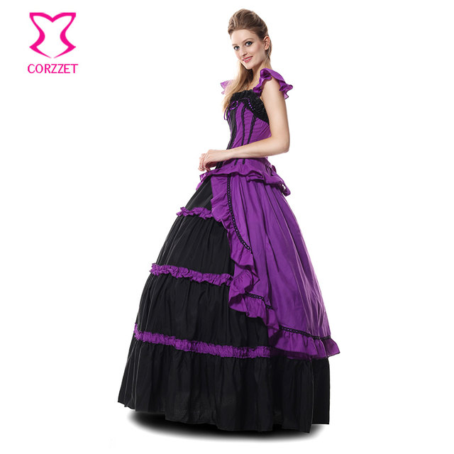 c511267322 Black And Purple Ruffles Long Gothic Victorian Princess Dress Sexy Queen Costume  Halloween Costumes For Women Cosplay Ball Gowns