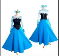 Fantasia de halloween mulheres adulto ariel princesa dress a pequena sereia ariel traje azul dress