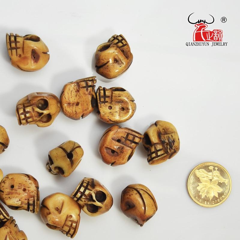 El yapımı Oyma Yak Kemik Boncuk, Kafatası Antik Boncuk Cadılar - Kostüm mücevherat - Fotoğraf 3