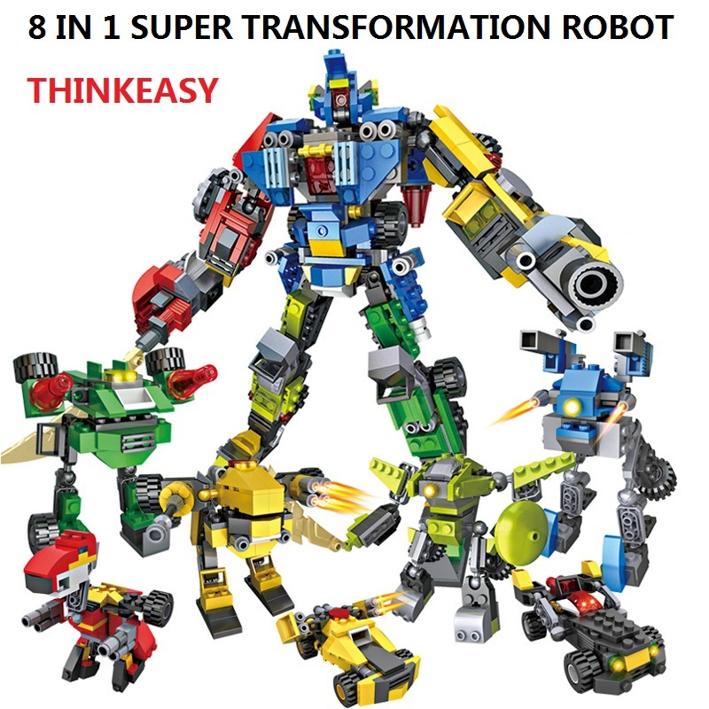 739 PCS 8 In 1 Transformation Robot Cars Prime and Bruticus Toys Action Figures Block Toys For Kids Birthday Gifts 7 pcs set with original package transformation robot cars and prime toys action figures classic toys for kids christmas gifts