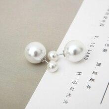 2019 hot sale earrings classic pearl earrings double-sided earrings ladies ball simulation pearl earrings jewelry wholesale fuzzy ball faux pearl chain earrings