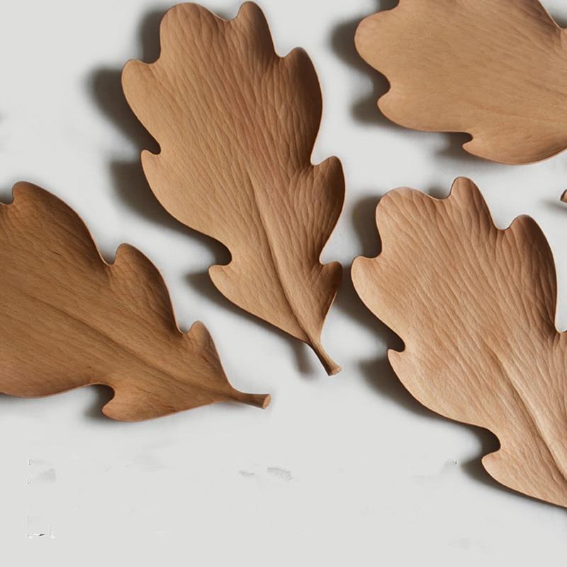 Originais Feitas À Mão Placa De Madeira Maple Leaves Estilo para Lanches/Bolo Placa Prato Criativo Bandeja de Armazenamento de Utensílios de Mesa de Madeira de Faia