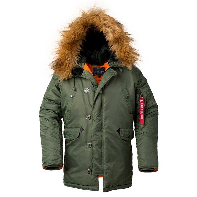 2020 Winter N3B puffer men long Куртка аляска coat military fur hood warm tactical bomber army korean thick parka 4