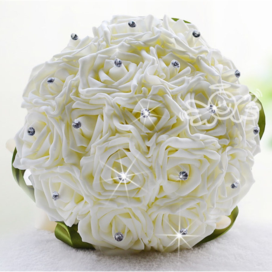 Aliexpress buy white rose folowers diy wedding bride aliexpress buy white rose folowers diy wedding bride artificial foam flower bouquet party birthday home decoration valentines gift 18pcs from mightylinksfo