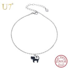 U7 Sterling Silver 925 Enamel Animal Cat Anklets For Women Summer Leg Bracelet Ladies Female Foot Chain Jewelry Girl Gift A330(China)