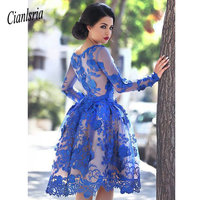 Royal Blue 2020 Elegant Cocktail Dresses A line Long Sleeves Appliques Lace Party Plus Size Homecoming Dresses