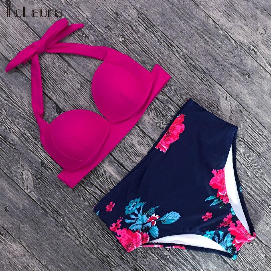 HTB1lRYacRCw3KVjSZFlq6AJkFXaN TeLaura Sexy High Waist Bikini Set Swimwear Women Swimsuit Push Up 2019 Womens Bikini Halter Top Bathing Suit Beachwear Biquini