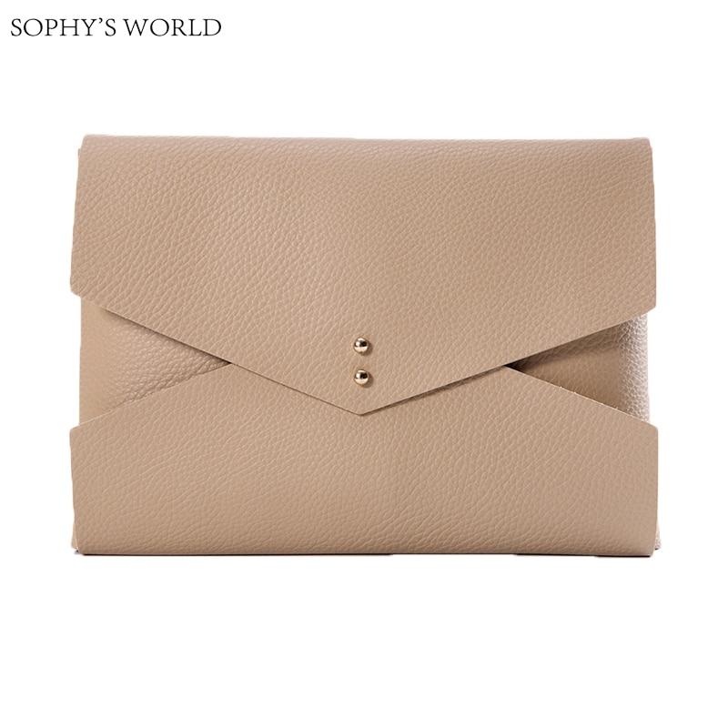 Luxury Bags Women 2017 Soft Leather Women's handbags Fashion Clutch Purses European Simple Clutch Envelope Bag Female bolsa