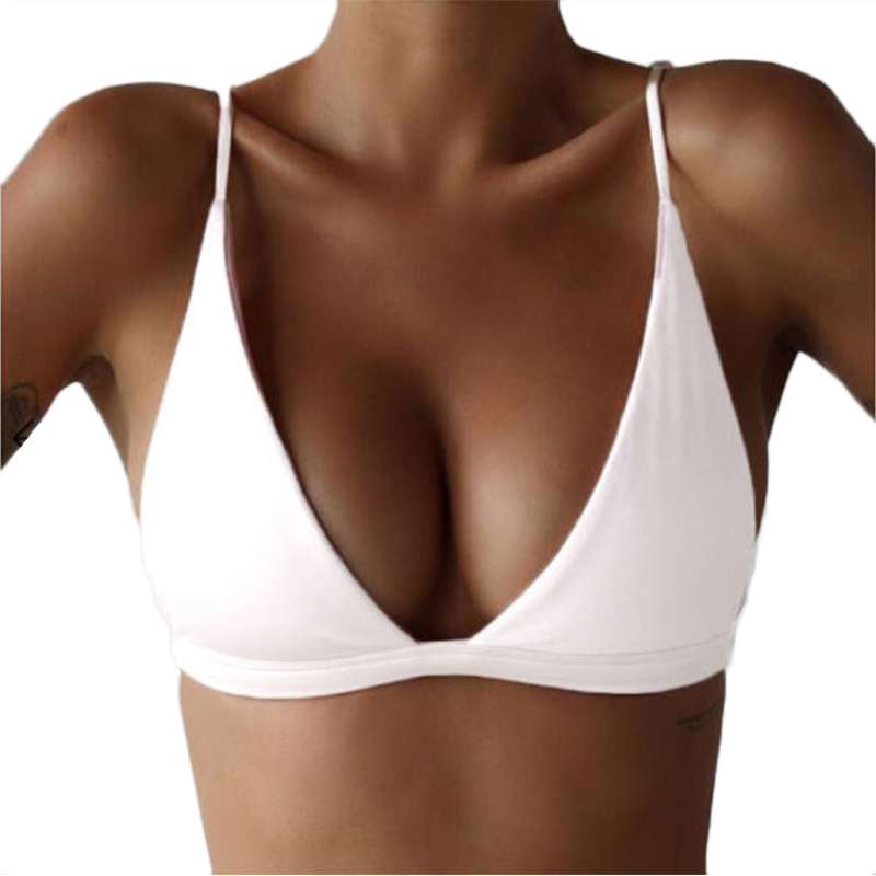5 Colors Sexy Women Bandage Bikini Top Push-up Padded Bra Bralette 2017 New Swimsuit Swimwear Army Green Black White Pink