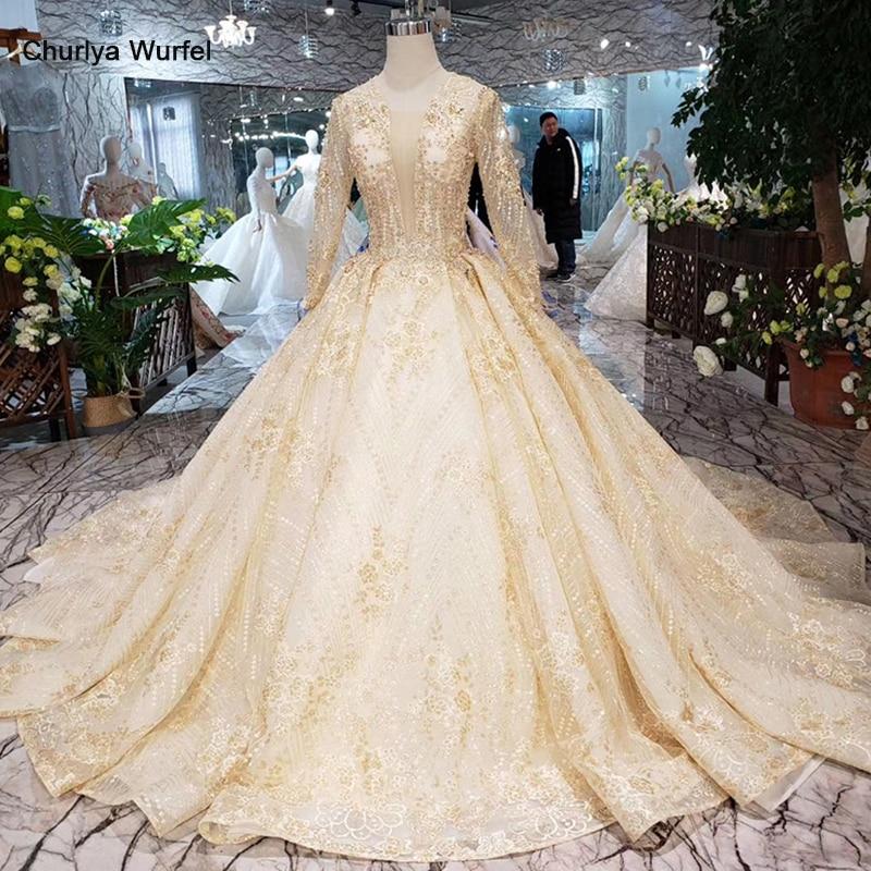 HTL277 Long Sleeves Wedding Dress Muslim Lace Up Back Golden Lace Bridal Dressing Up Gown With Long Train Vestido De Noiva Boho