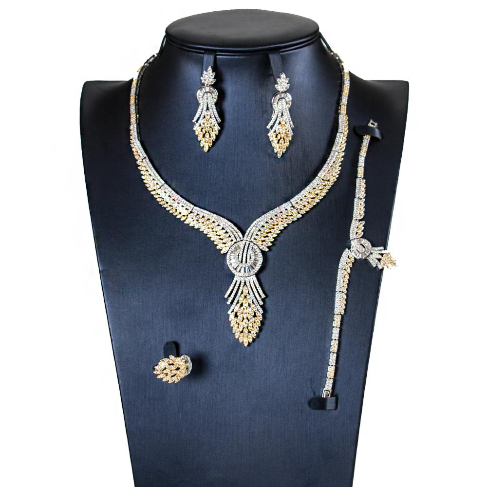 LAN PALACE new 5A cubic zirconia bridal jewelry sets Necklace/Earrings/Ring/Bracelet 4PCS for engagement free shipping