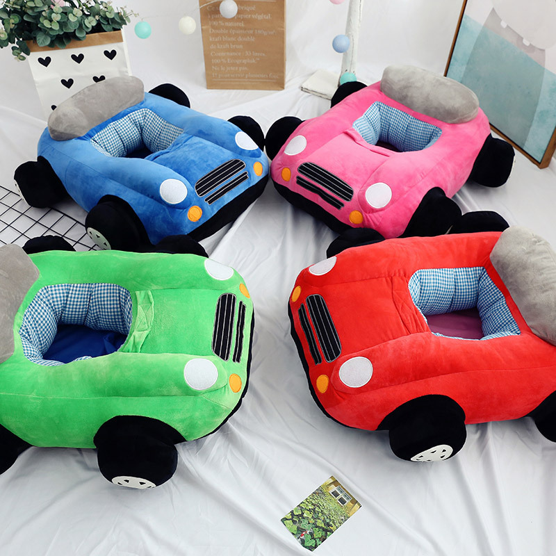 Cartoon Cute Children Small Sofa Baby Stool Lazy Seat Children Cartoon Plush Car Toy Gift Colorful Car Toy For Children GF141